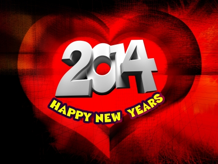 Happy New Year 2014, red background in the form of heart photo
