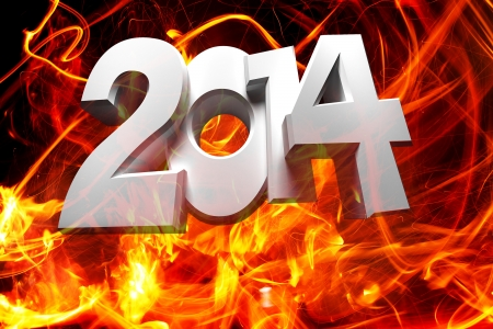 2014 figures on a background of fire photo