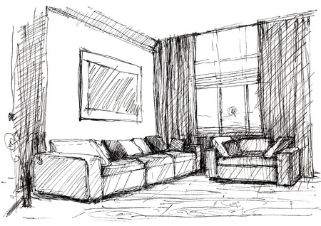 interior design: Armchair against a wall monochrome drawing  sketch image  Stock Photo