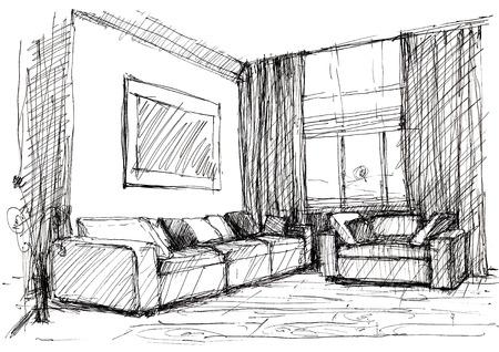 Sessel skizze  Skizze Interior Lizenzfreie Vektorgrafiken Kaufen: 123RF