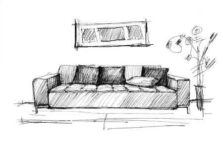 Armchair against a wall monochrome drawing  sketch image  Stock Photo