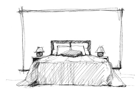Bedroom in contemporary style  sketch image  photo