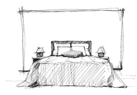 hotel bedroom: Bedroom in contemporary style  sketch image