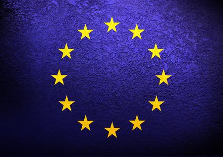 EU flag on grunge background photo