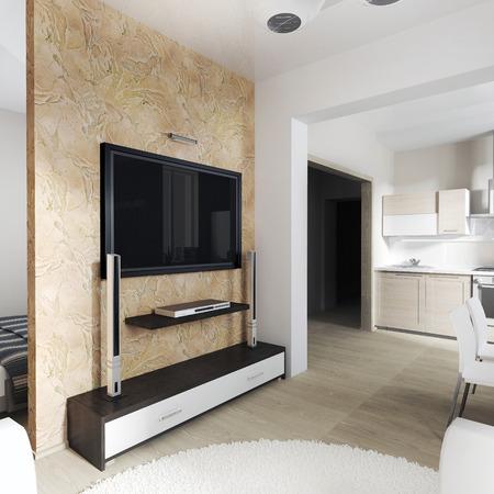 tv wall: modern interior of living room (3d rendering)