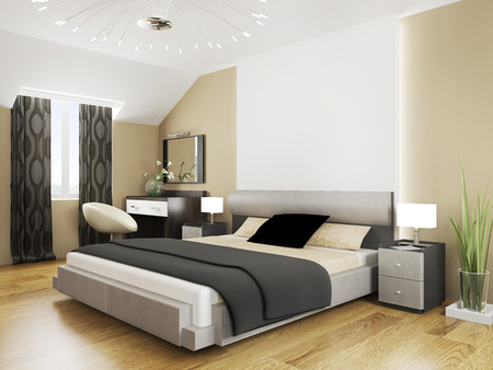 furniture home: Bedroom in contemporary style 3d rendering Stock Photo