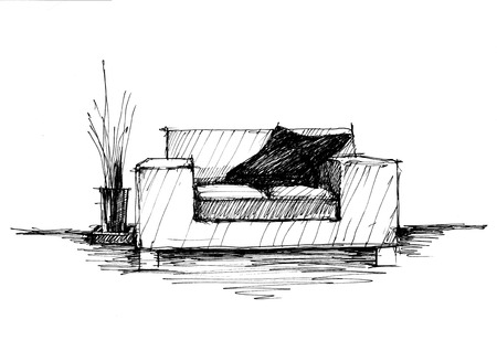 home furnishings: Armchair against a wall monochrome drawing (sketch image)