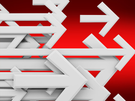 leadership development: Group of arrows on a red background, 3d rendering