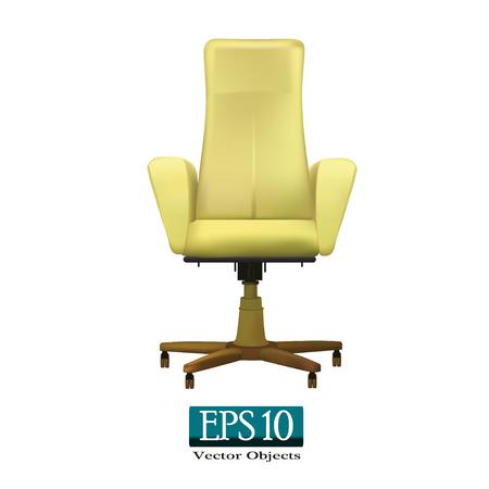 Beige chaise de bureau sur un fond blanc (vecteur 10 eps)