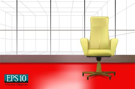 luz roja: silla de oficina de color beige (vector EPS 10)
