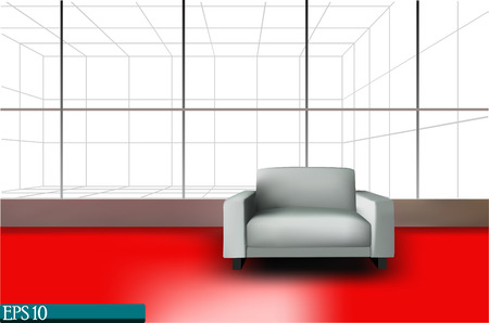 red sofa: place for rest in office (vector 10 eps)