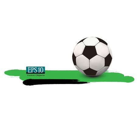 socca: pallone da calcio su sfondo verde vettoriale 10 eps Vettoriali
