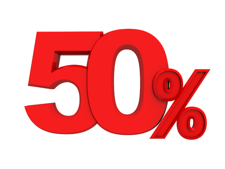 number 50: Red percent sign isolated on white background, three-dimensional rendering
