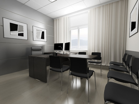 interior lighting: Office interior in classical style 3d rendering