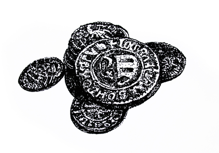 antique coins: Old and antique coins, black and white drawing