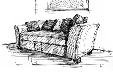 armchair: Armchair against a wall monochrome drawing, sketch image Stock Photo