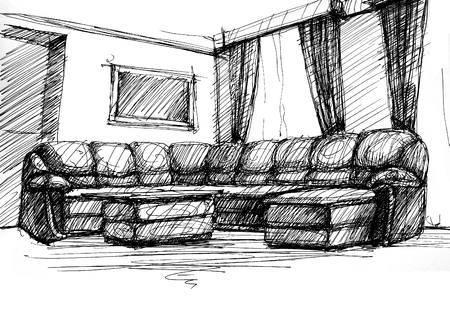 furnishings: Armchair against a wall monochrome drawing, sketch image Stock Photo