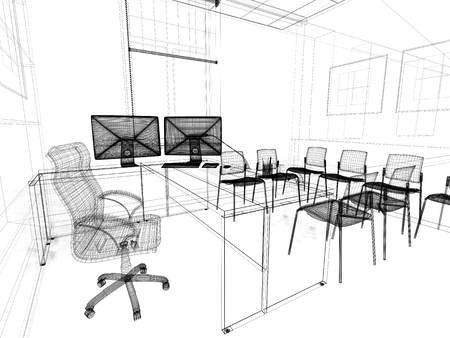 classical style: Office interior in classical style 3d rendering
