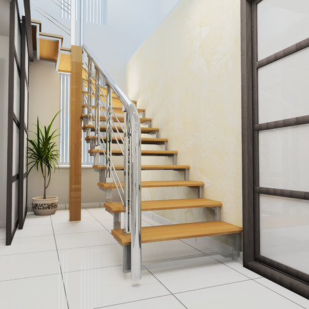 wooden stairs: Corridor in modern office with wooden stairs, 3d  rendering