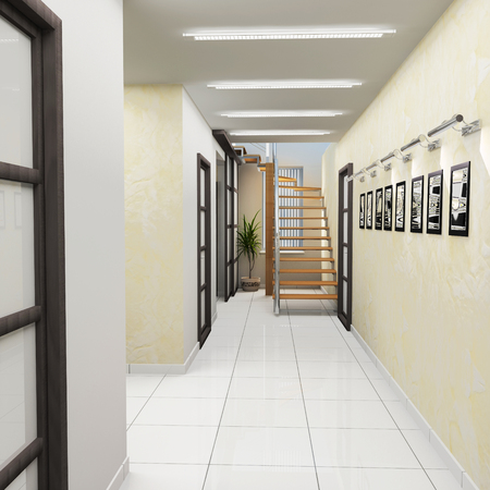 metal handrail: Corridor in modern office with wooden stairs, 3d  rendering