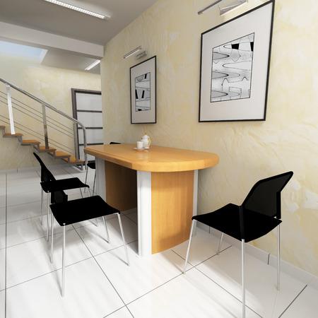 superficie: Comedor en una oficina moderna, procesamiento de 3d