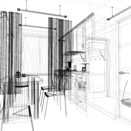 comedor escolar: Comedor en una oficina moderna, procesamiento de 3d