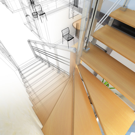 3 d: Corridor in modern office with wooden stairs, 3 d  rendering