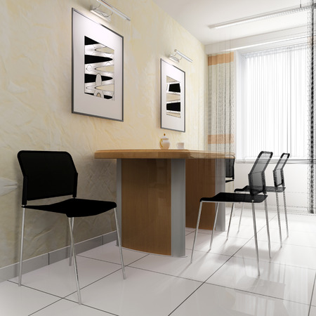 dining area: dining area in a modern office, 3d rendering