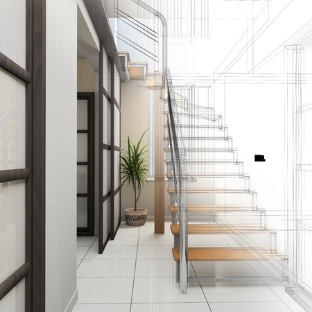 inside house: Corridor in modern office with wooden stairs, 3d  rendering