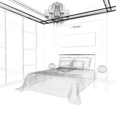3 d: Bedroom in contemporary style 3 d rendering