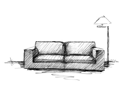 wall design: Armchair against a wall monochrome drawing, sketch image Stock Photo