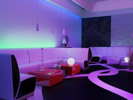 Platz in einem Nachtclub, 3D-Rendering zu entspannen
