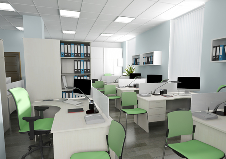 Office interior in modern style 3d rendering