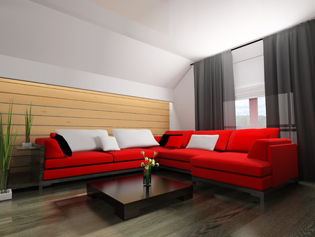 housing: red sofa in modern interior, 3d rendering