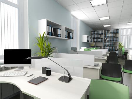 office lighting: Office interior in modern style 3d rendering