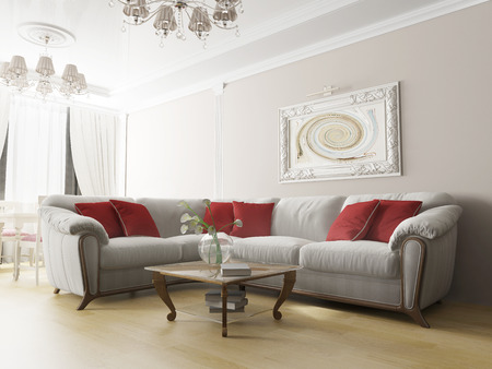 white sofa: White sofa in modern interior, 3d rendering