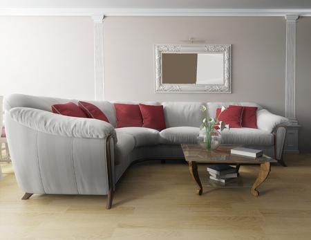 modern interior: White sofa in modern interior, 3d rendering