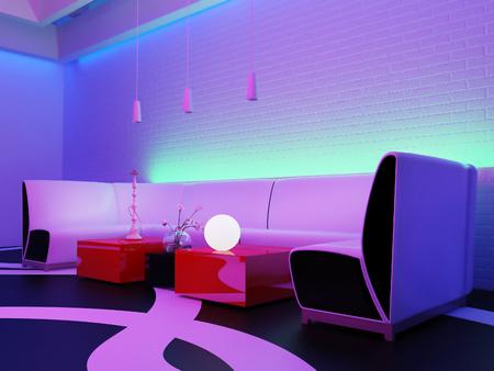 plaats om te ontspannen in de nachtclub, 3D-rendering