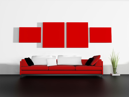 modern sofa: red sofa in modern interior, 3d rendering