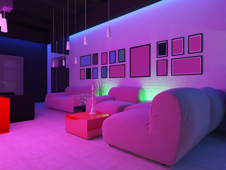 night club interior: place to relax in nightclub, 3d rendering