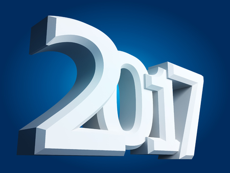 2017 New Year sign on blue background. Stock Photo