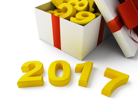 2017 New Year sign on white background. Stock Photo