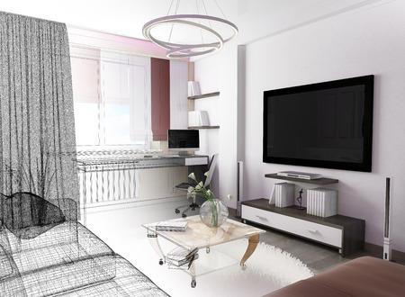 White living room interior. 3 d rendering