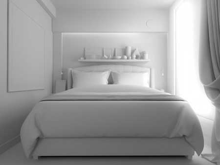 Bedroom in contemporary style, 3 d rendering