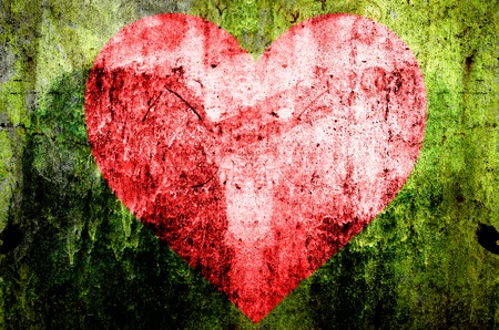 grunge love background, heart on abstract colored wall background