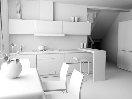 modern domestic Kitchen, stylish interior design, 3 d rendering image