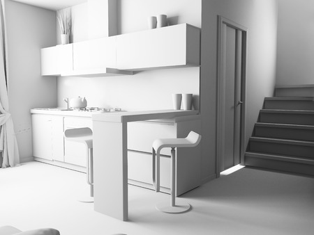 modern domestic Kitchen, stylish interior design, 3 d rendering image