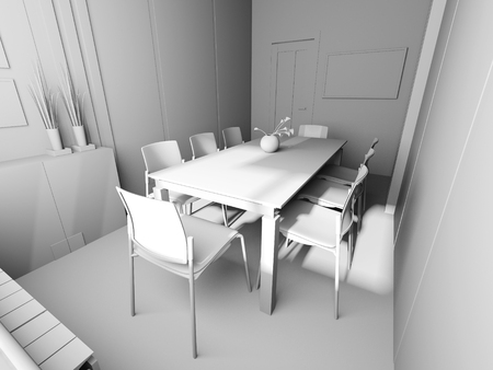Office interior in modern style. 3d rendering 스톡 콘텐츠