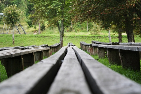 openair: Open-air theater benches with park in background  Stock Photo