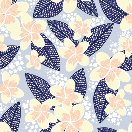 tropical pale yellow Frangipani with navy leaves, white details and blue grey background seamless vector pattern